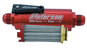 Peterson 09-0625 600 Series Ball Valve Fuel Filter - 100 Micron, 8AN Fittings