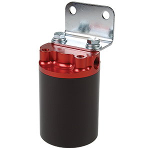 "Aeromotive 12317 Filter, Canister, 10-Micron Fabric Element , 3/8"" NPT Port, Bright-Dip Red Top / Black Cup, SS Series"
