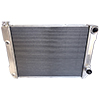BSC 28in x 19in GM Double Pass Aluminum AN Fitting Style Radiator - Top Right Inlet / Angled Bottom Right Outlet