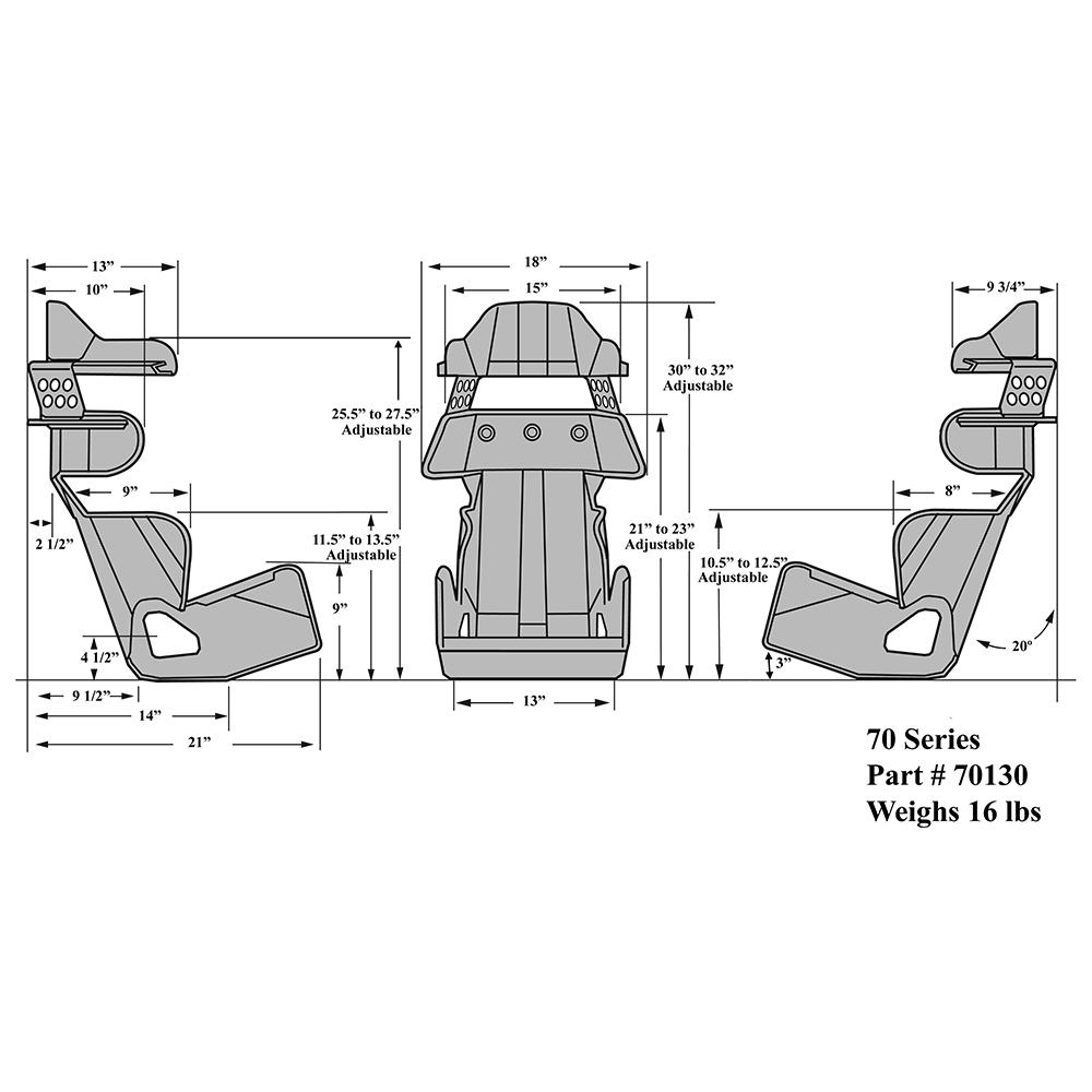 Kirkey Racing 70 Series 20 Deg Layback Cont Seat 70