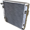 BSC 23.5in x 23.5in x 3.5in Northeast DIRT Modified Crossflow Aluminum Radiator w/ Mounts - Top Left Inlet / Bottom Right Outlet