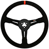 Max Papis Innovations MPI-BL-14-A 14 Inch Aluminum Orange Strip Bando / Legend 3 Hole Steering Wheel