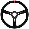 Max Papis Innovations MPI-DO-14-A 14 Inch Suede Orange Strip Off Road / SXS / Drifting 6 Hole Steering Wheel