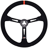 Max Papis Innovations MPI-LM-15-A 15 Inch Suede Black Strip Stock Car Concept 3 Hole Steering Wheel