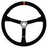 Max Papis Innovations MPI-MP-15-OE Light Weight 15 Inch Orange Strip Steel Suede Steering Wheel 3 Hole with Thumb Insert