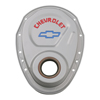 Proform 141-363 Timing Chain Cover - Gray - Steel - With Chevy And Bowtie Logo - For Small Block Chevy 69-91